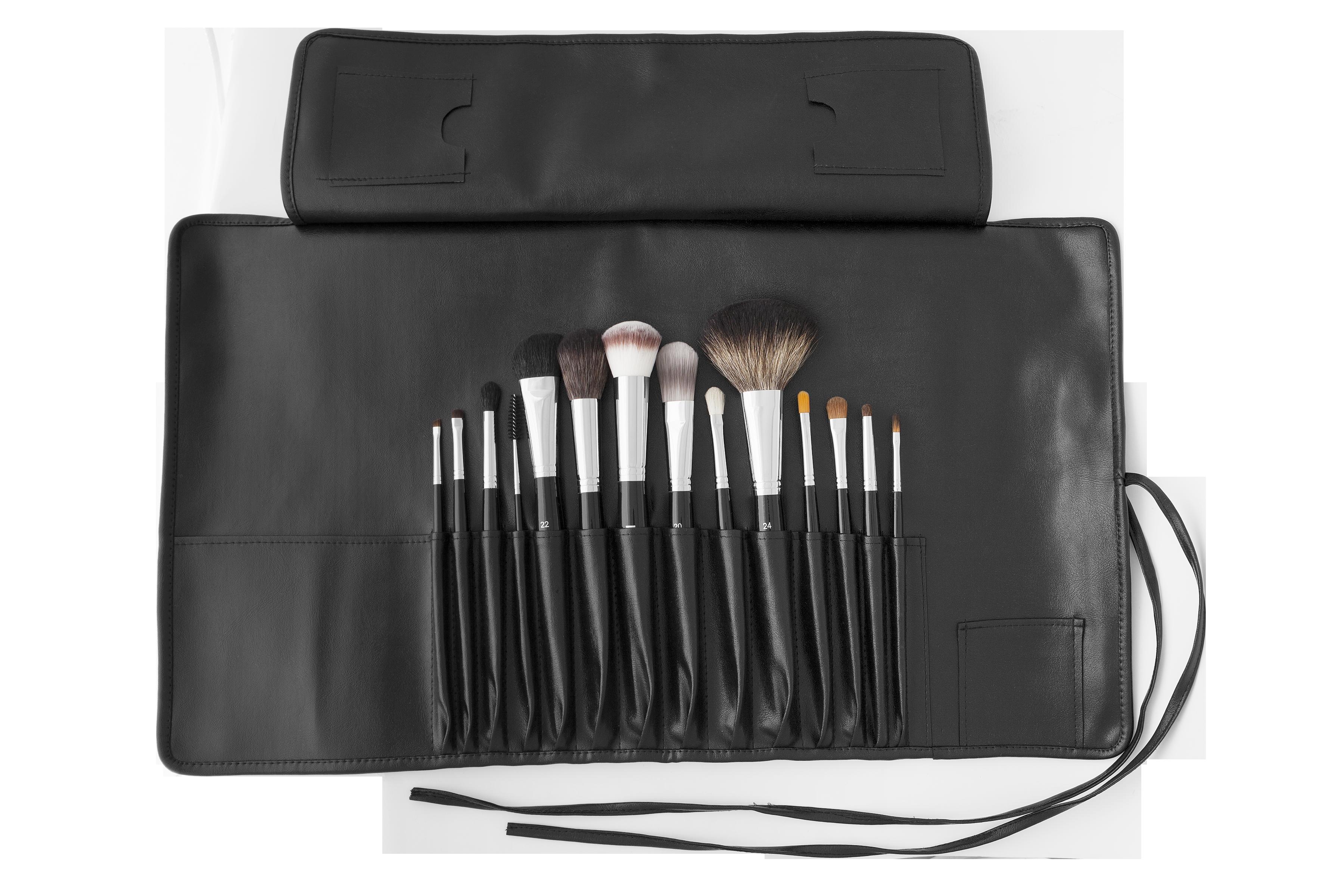 Set de brochas de maquillaje profesionales con manta de piel sintética Maiko
